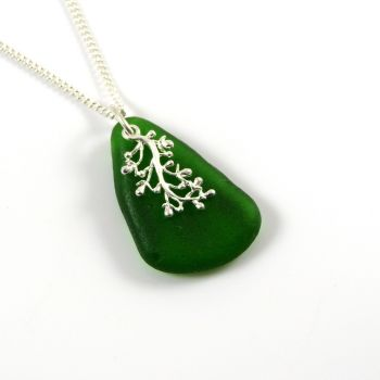 Deep Jade Green Sea Glass and Silver Coral Charm Necklace