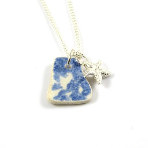 Blue and White Beach Pottery and Sterling Silver Starfish Charm Necklace