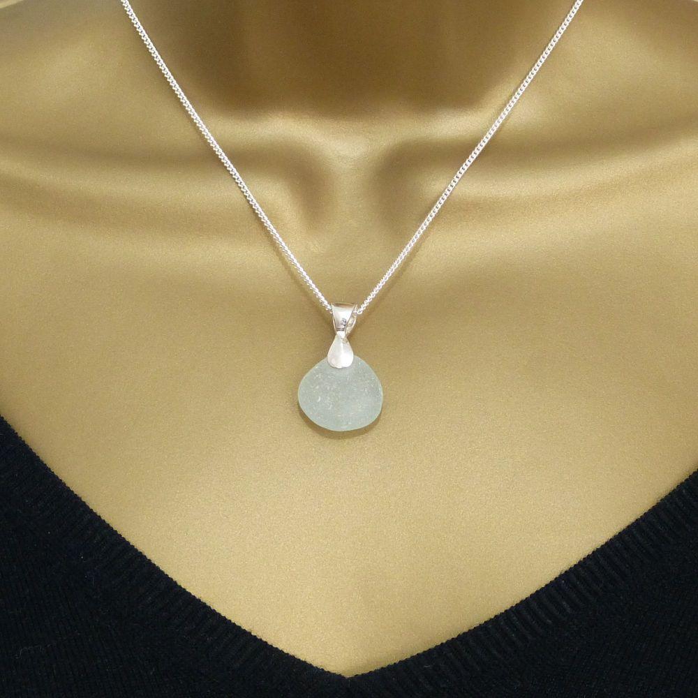 Blue Seafoam Sea Glass Necklace MIGNON