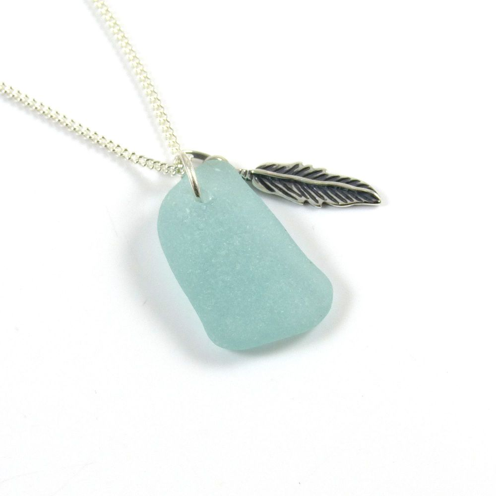 Light Aquamarine Sea Glass and Sterling Silver Angel Feather Necklace