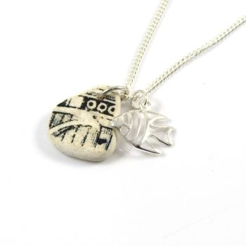 Black and White Pottery and Silver Angel Fish Charm Necklace