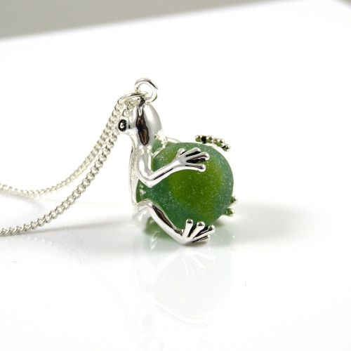 Frog with Jade Green Sea Glass Marble Locket