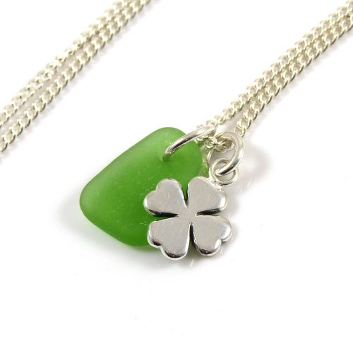 Emerald Green Sea Glass and Sterling Silver Four Leaf Clover Charm Necklace