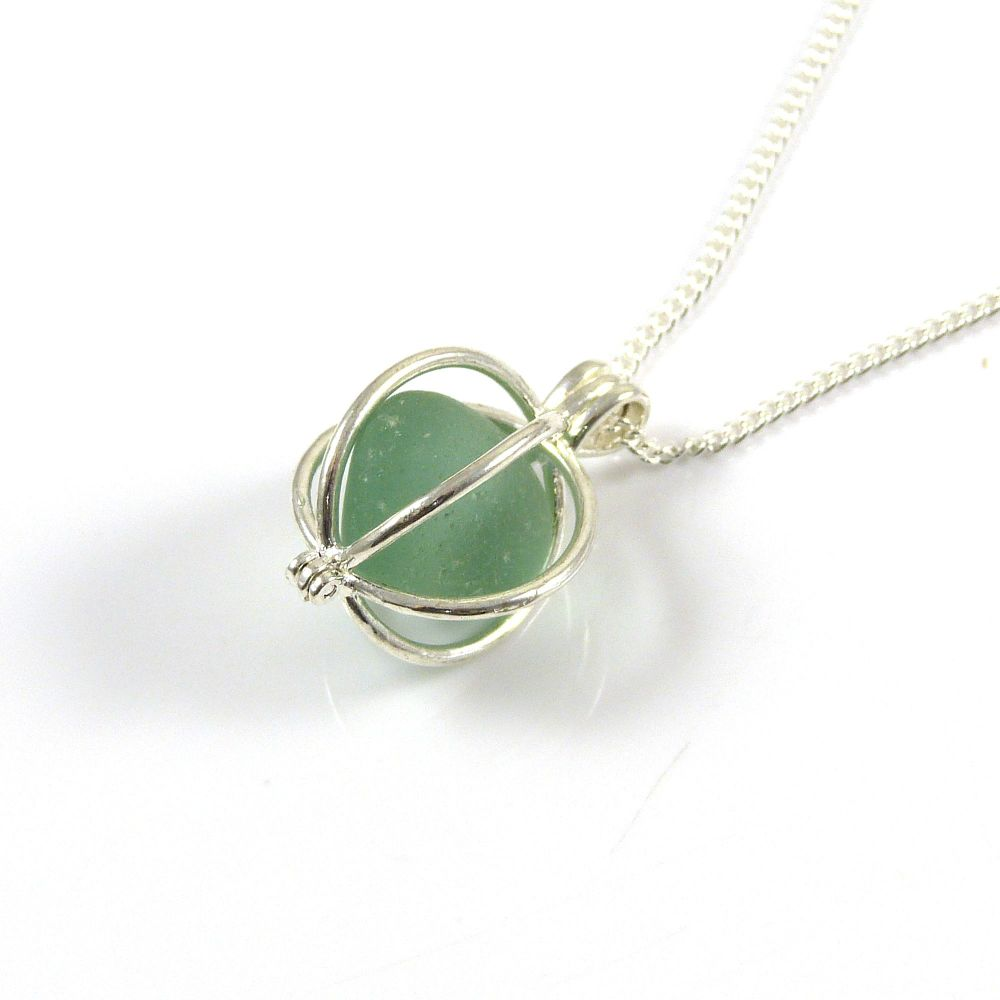Seafoam Sea Glass Nugget Locket Necklace