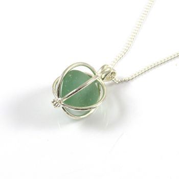 Seafoam Sea Glass Nugget Locket Necklace