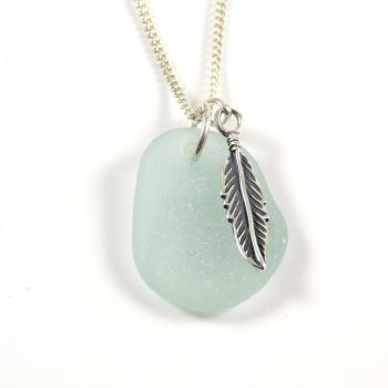 Seafoam Sea Glass and Sterling Silver Angel Feather Necklace c234