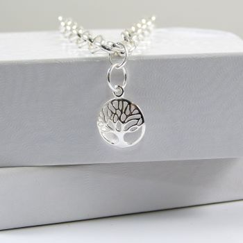Sterling Silver Bracelet with Silver Tree of Life Charm