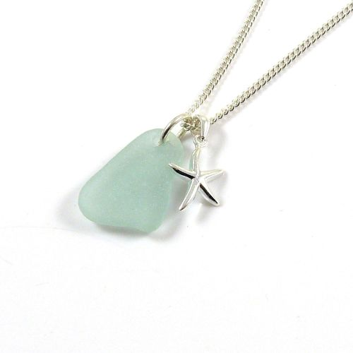 Deep Seafoam Sea Glass and Sterling Silver Starfish Necklace