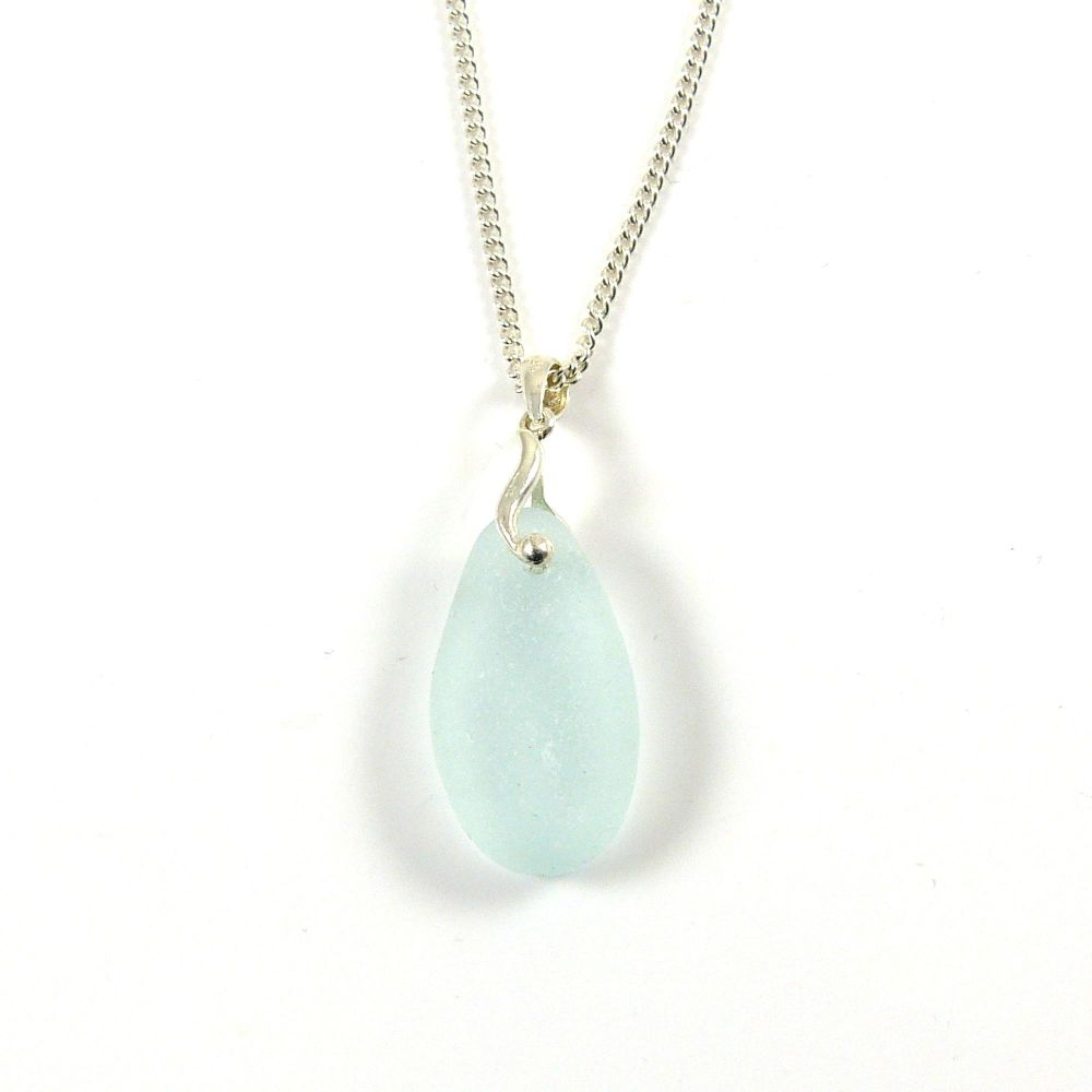Pale Blue Sea Glass Necklace SHELLY