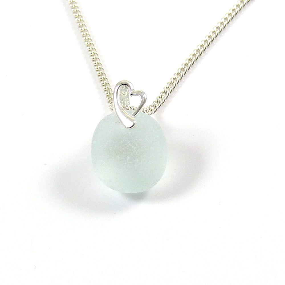 Seafoam Blue Sea Glass Necklace LISETTE