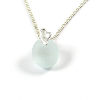 Seafoam Blue Sea Glass Necklace LISETTE