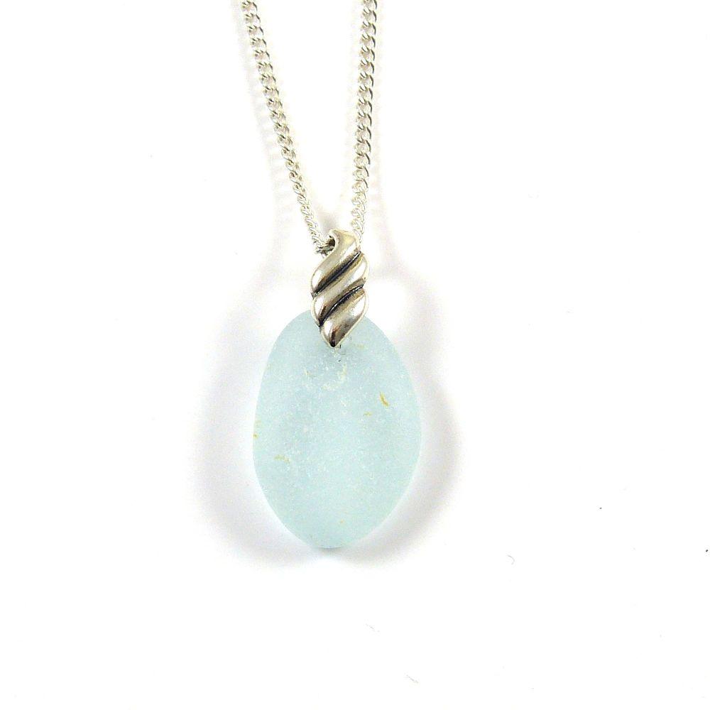 Blue Seafoam Sea Glass Necklace LUCY