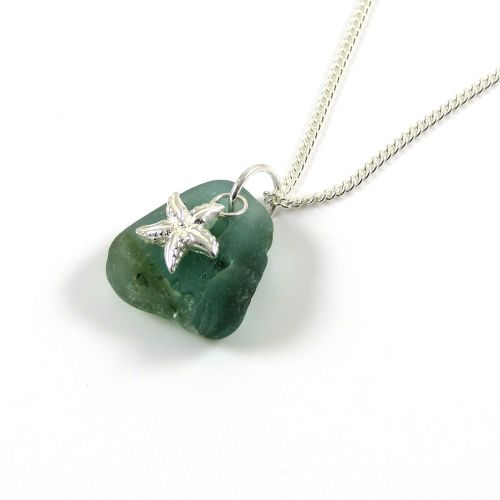 Jade Bonfire Sea Glass and Sterling Silver Starfish Necklace