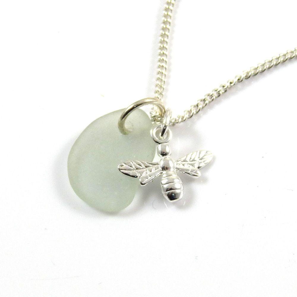 Seafoam Sea Glass, Sterling Silver Bee Necklace ch249