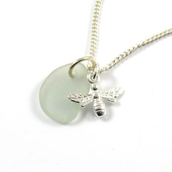 Seafoam Sea Glass, Sterling Silver Bee Necklace