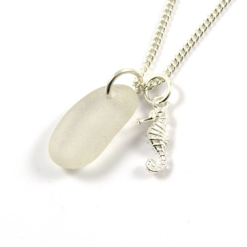 Snow white Sea Glass and Sterling Silver Seahorse Charm Necklace