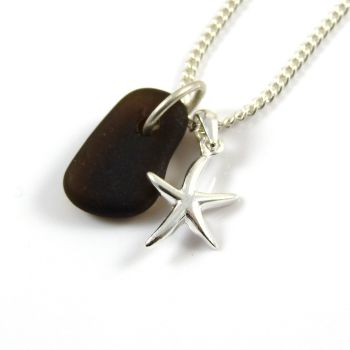Rare Black Sea Glass and Sterling Silver Starfish Necklace