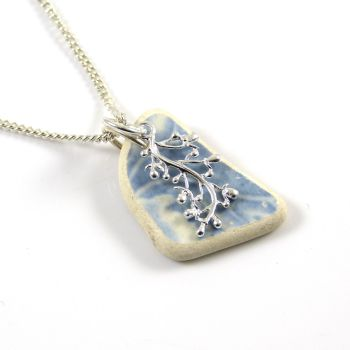 Blue and White Beach Pottery and Silver Coral Charm Necklace