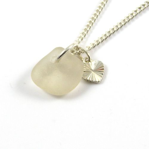 White Sea Glass and Sterling Silver Stripey Heart Necklace