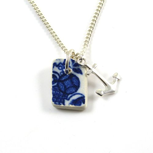 Tiny Blue and White Beach Pottery and Silver Anchor Charm Necklace
