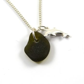Rare Black Sea Glass and Sterling Silver Dolphin Necklace