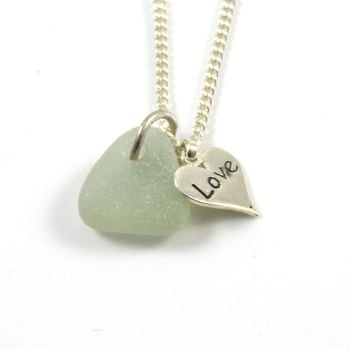 Seaspray Sea Glass and Sterling Silver Love Heart Necklace