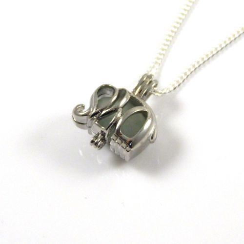 Tiny Seafoam Sea Glass Elephant Locket Necklace