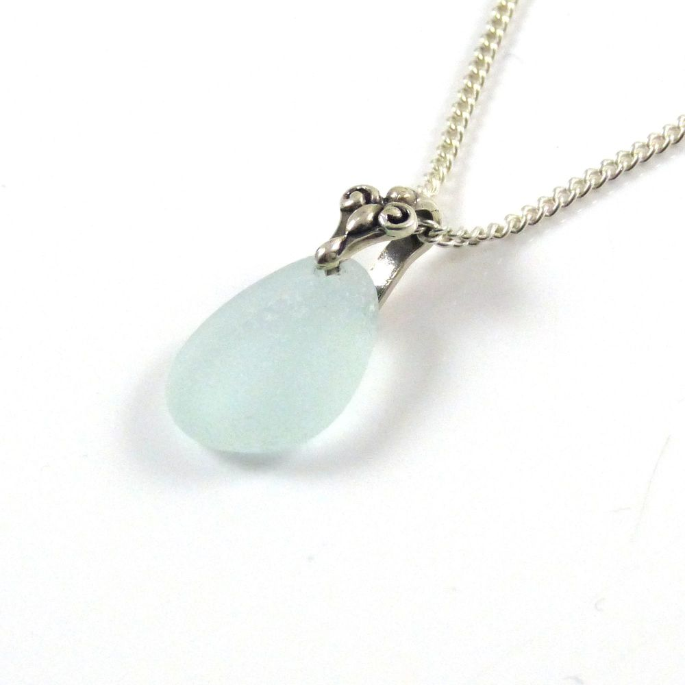 Pale Aqua Blue Sea Glass Necklace SHARLA