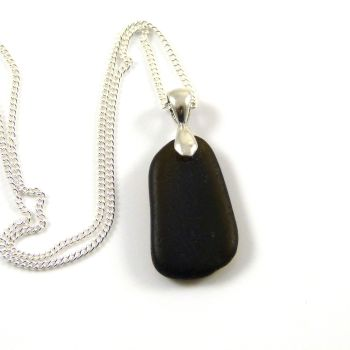 Rare Very Dark Alligator Sea Glass Necklace YNES