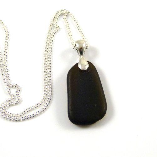Rare Very Dark Alligator Sea Glass Necklace YNES