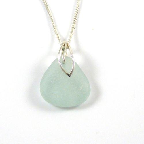 Seafoam Blue Sea Glass Necklace MAIA