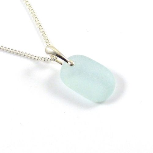 Pale Aquamarine Sea Glass and Silver Necklace MAREE