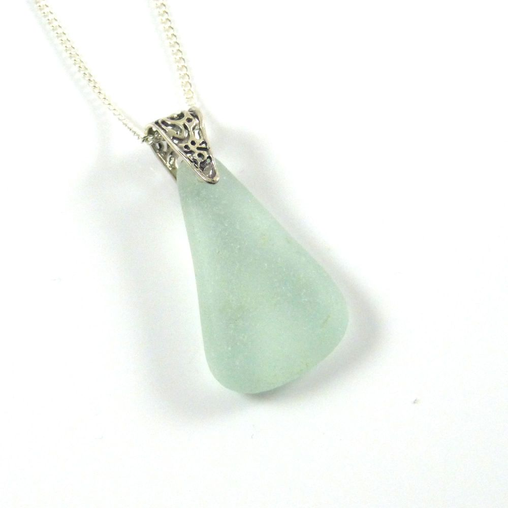 Seafoam Glass on Sterling Silver Necklace IVA