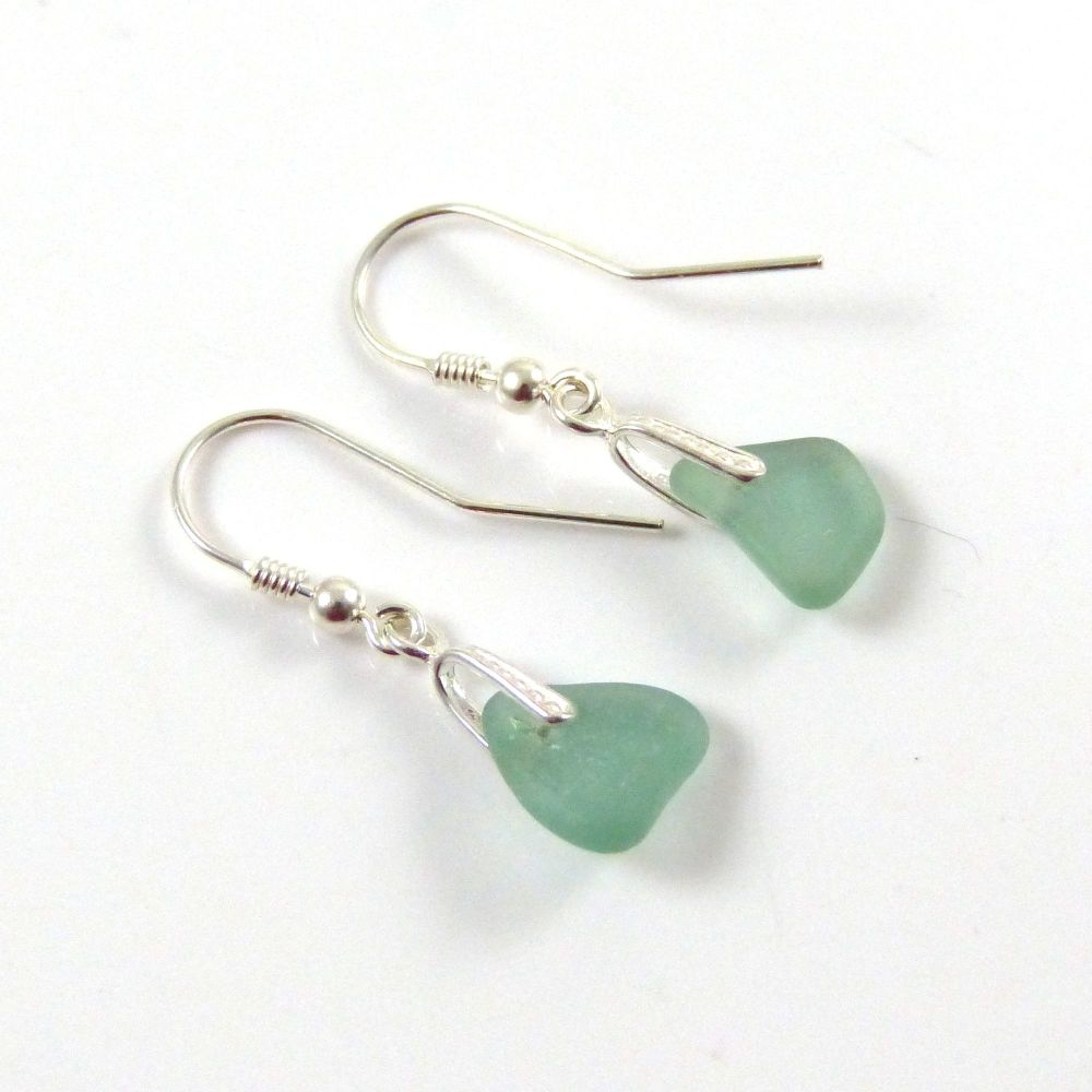 Light Teal Blue Sea Glass Sterling Silver Drop Earrings