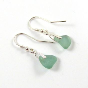 Light Teal Blue Sea Glass Sterling Silver Drop Earrings