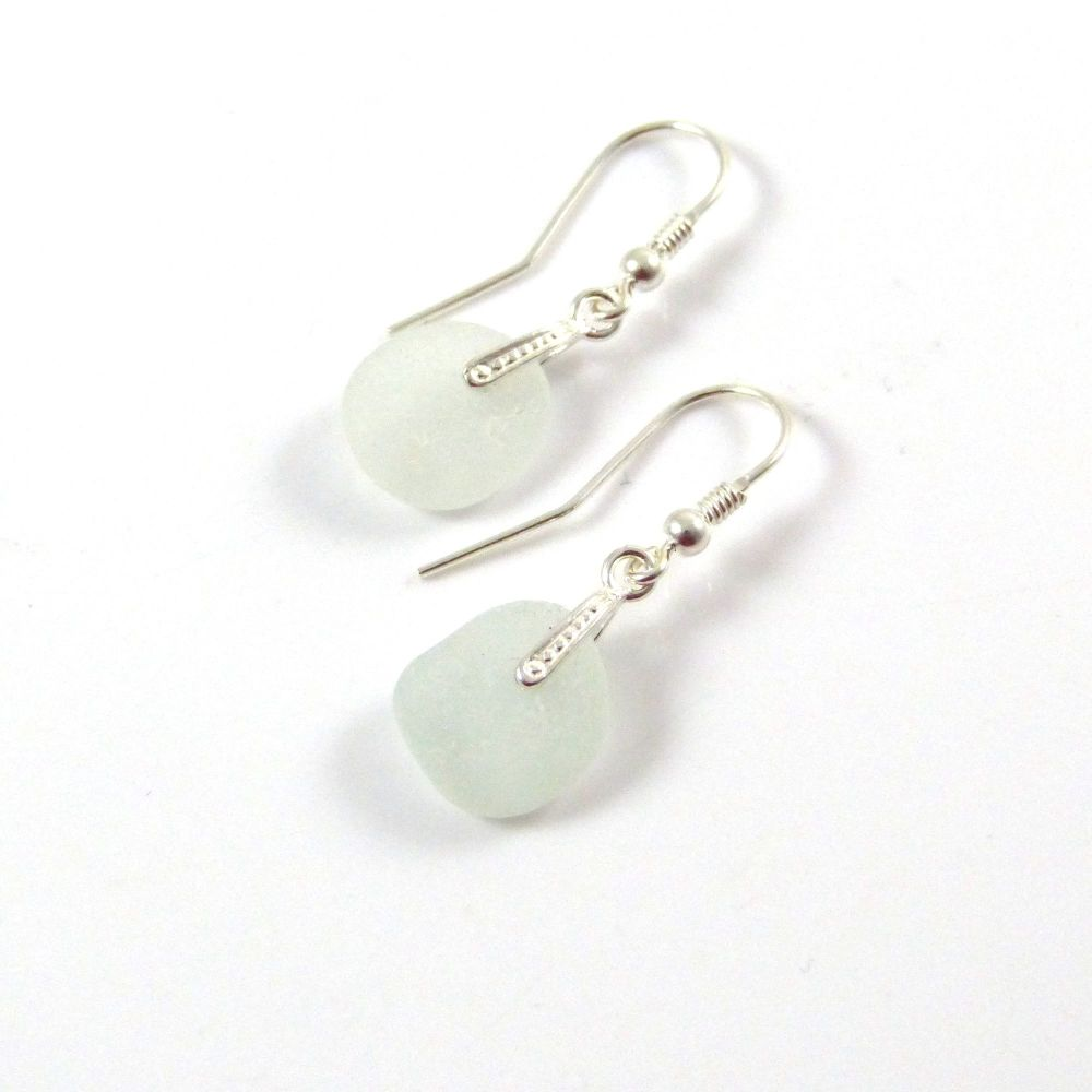 Sea Mist Sea Glass Sterling Silver Drop Earrings