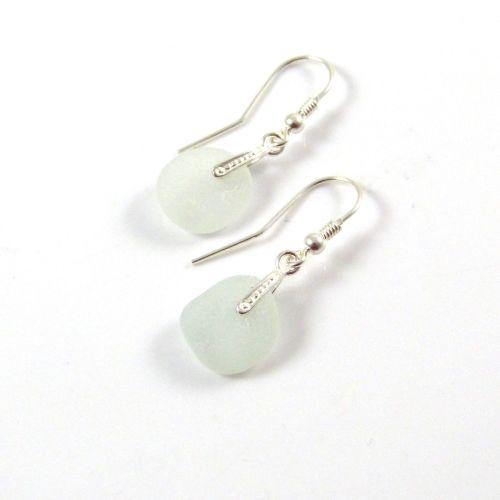 Sea Mist Sea Glass Sterling Silver Drop Earrings
