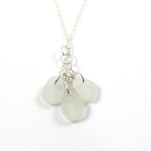 Seamist Sea Glass and Sterling Silver Cluster Necklace LYDIE