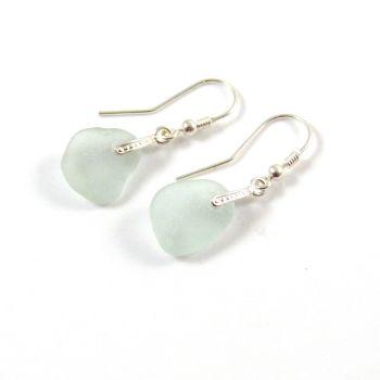 Seaspray Sea Glass Sterling Silver Earrings e61