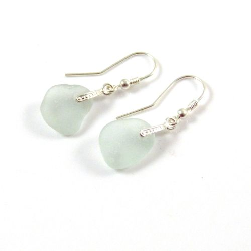 Seaspray Sea Glass Sterling Silver Earrings e61