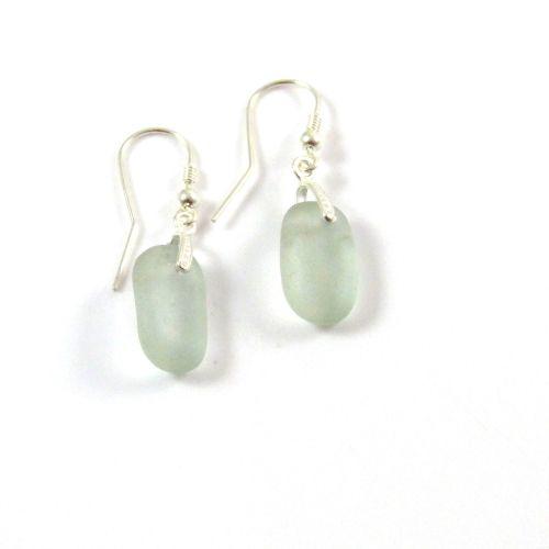 Grey Sea Glass Sterling Silver Earrings e63