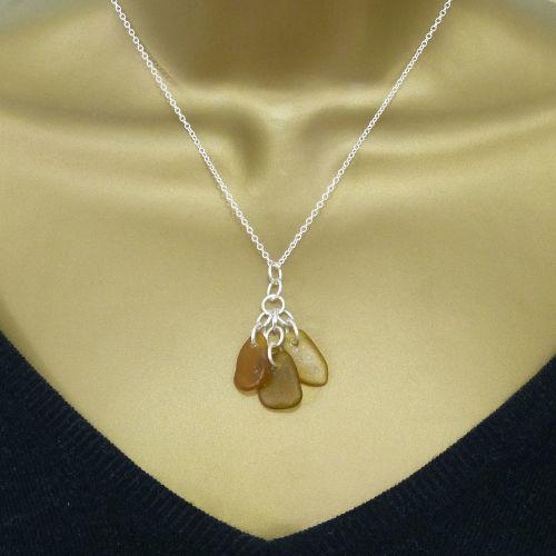 Caramel Sea Glass Cluster Necklace KYRA