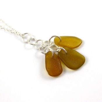 Caramel Sea Glass Cluster Necklace KYRA