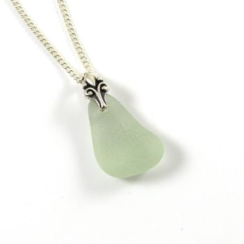 Deep Seafoam Sea Glass and Silver Necklace ELISE