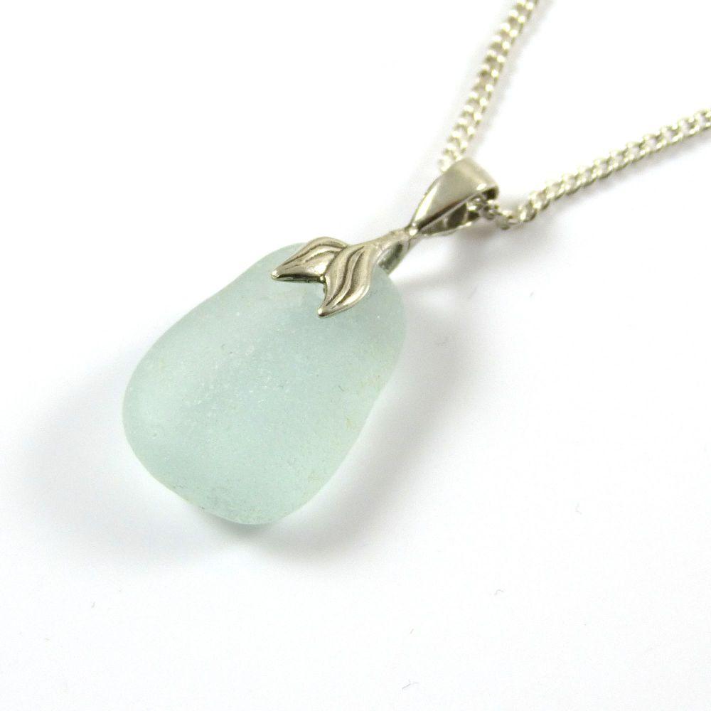 Seafoam Blue Sea Glass Necklace Mermaid CHANTAL