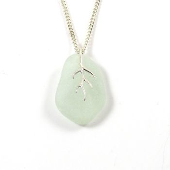 Seaspray Sea Glass And Silver Tendril Pendant Necklace LUCILE