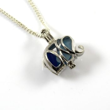 Tiny Trio of Blues Sea Glass Elephant Locket Necklace