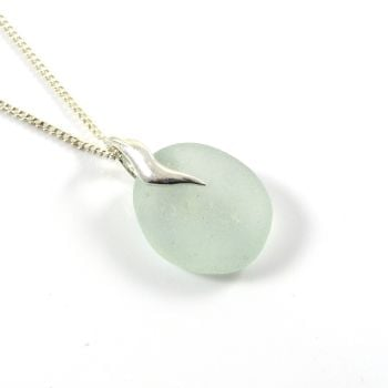 Seafoam Sea Glass Pendant Necklace VILLETTA Statement Piece