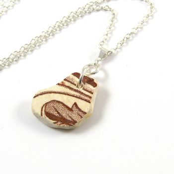 Brown and White Beach Pottery on Sterling Silver Necklace EMELE