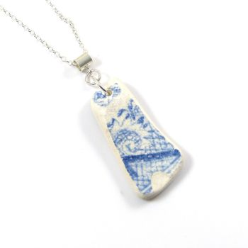 Blue and White Beach Pottery on Sterling Silver Necklace CORALIE